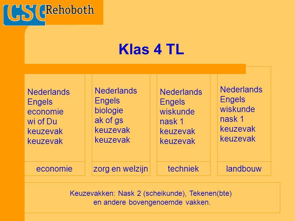 Klas 4 TL Nederlands Engels wiskunde nask 1 keuzevak Nederlands Engels