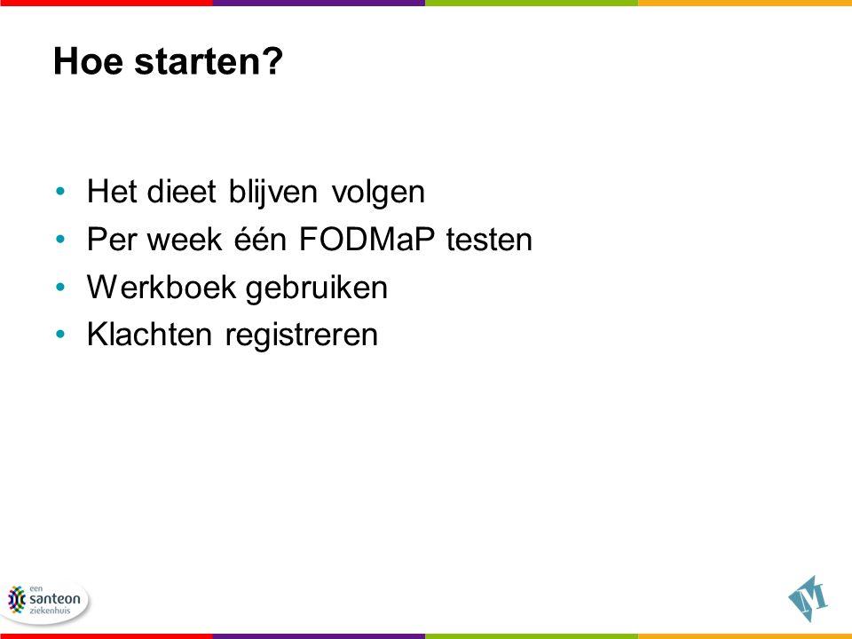 Hoe starten Het dieet blijven volgen Per week één FODMaP testen