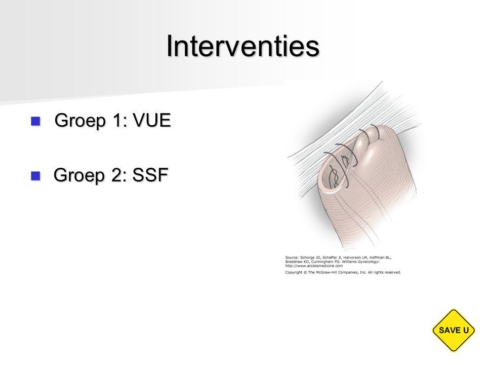 Interventies Groep 1: VUE Groep 2: SSF