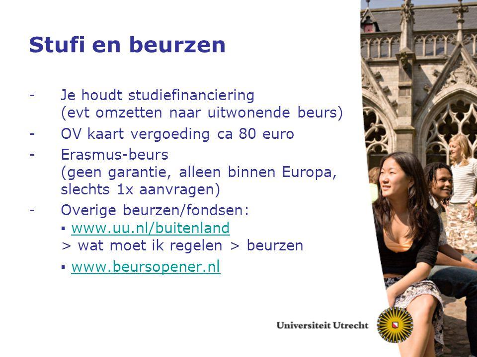 Stufi en beurzen Je houdt studiefinanciering (evt omzetten naar uitwonende beurs) OV kaart vergoeding ca 80 euro.