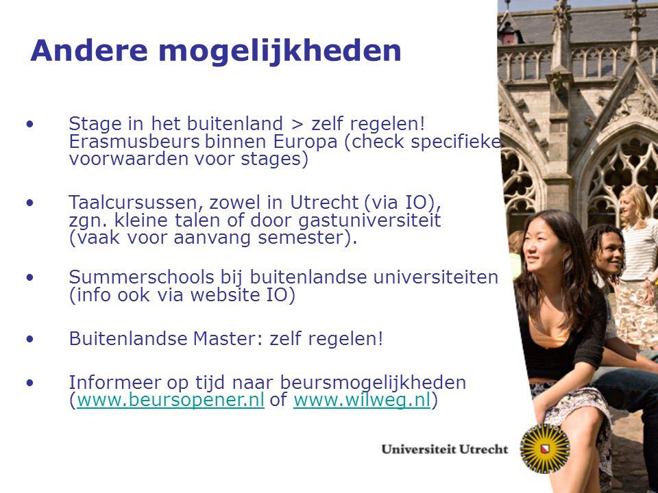 Andere mogelijkheden Stage in het buitenland > zelf regelen! Erasmusbeurs binnen Europa (check specifieke voorwaarden voor stages)