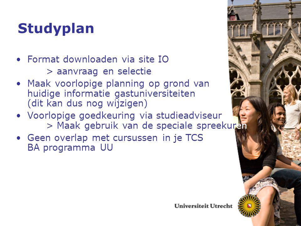 Studyplan Format downloaden via site IO > aanvraag en selectie