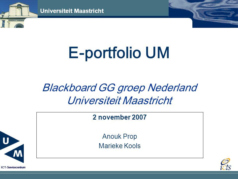 E-portfolio UM Blackboard GG groep Nederland Universiteit Maastricht