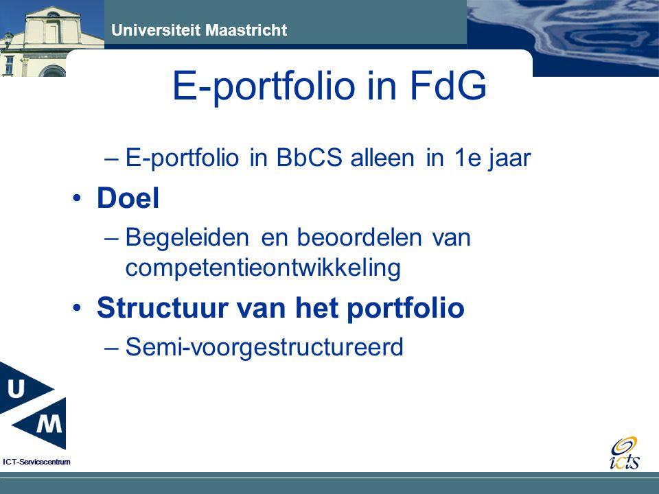E-portfolio in FdG Doel Structuur van het portfolio