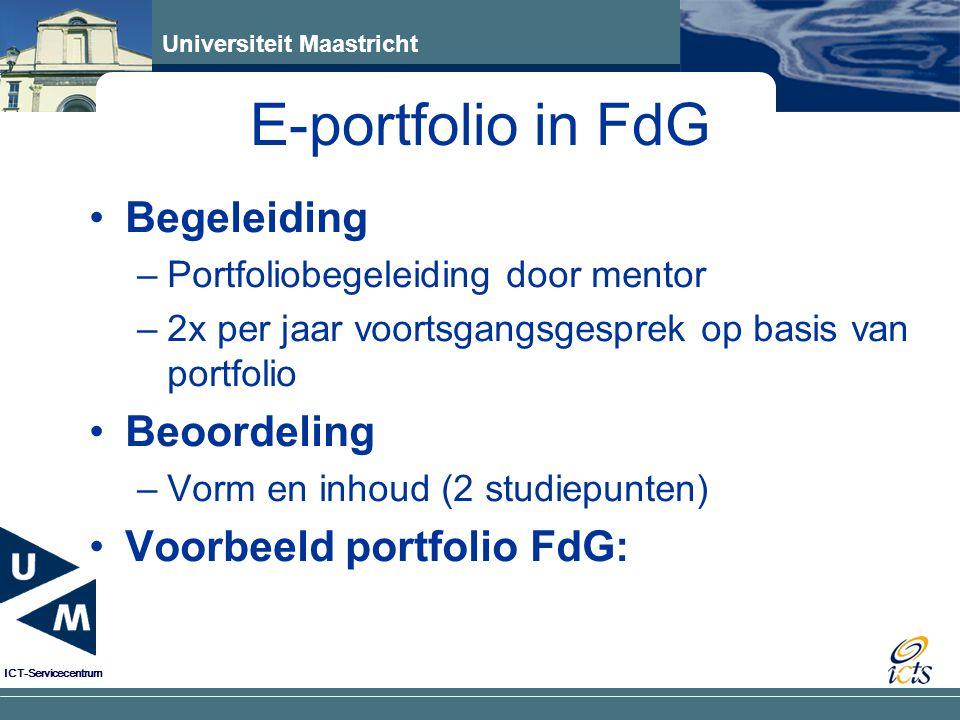 E-portfolio in FdG Begeleiding Beoordeling Voorbeeld portfolio FdG: