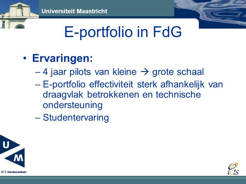 E-portfolio in FdG Ervaringen: 4 jaar pilots van kleine  grote schaal