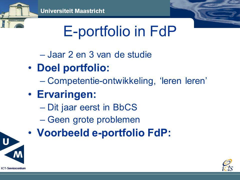 E-portfolio in FdP Doel portfolio: Ervaringen: