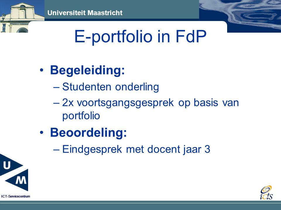 E-portfolio in FdP Begeleiding: Beoordeling: Studenten onderling