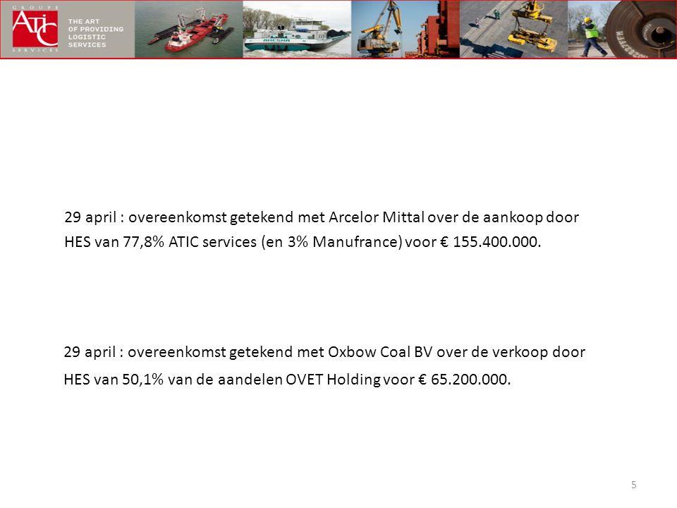 29 april : overeenkomst getekend met Arcelor Mittal over de aankoop door