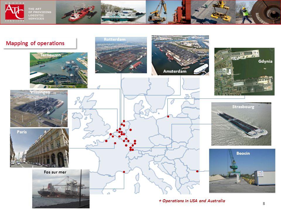 Mapping of operations Rotterdam Terneuzen Rotterdam Gdynia Amsterdam