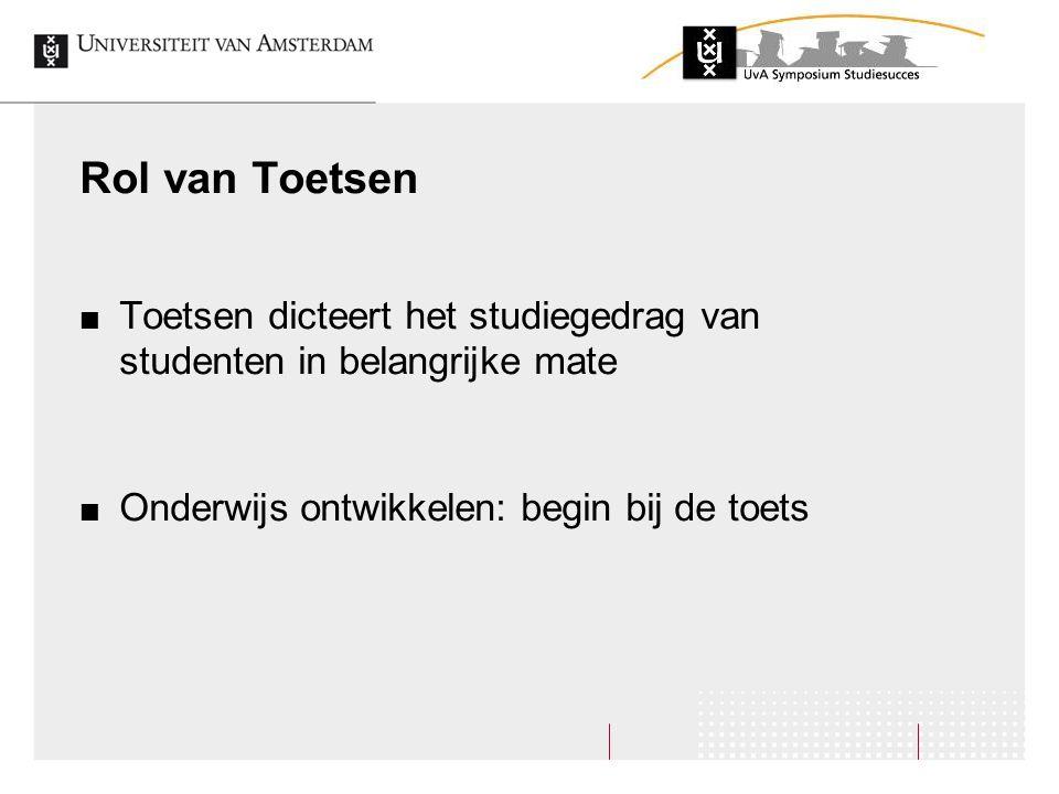Rol van Toetsen Toetsen dicteert het studiegedrag van studenten in belangrijke mate.