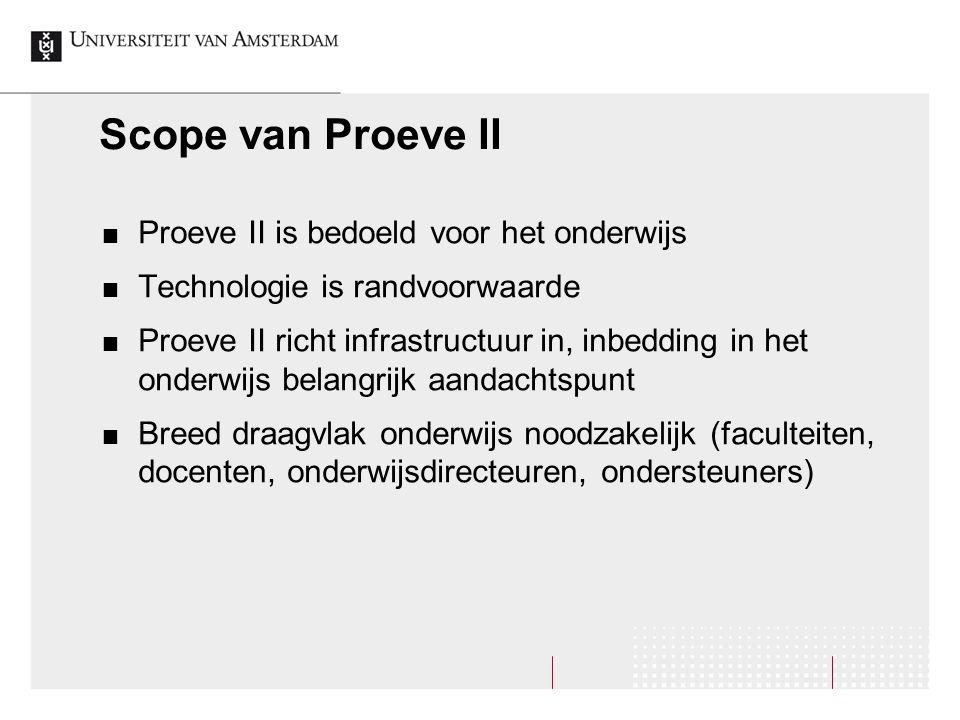 Scope van Proeve II Proeve II is bedoeld voor het onderwijs