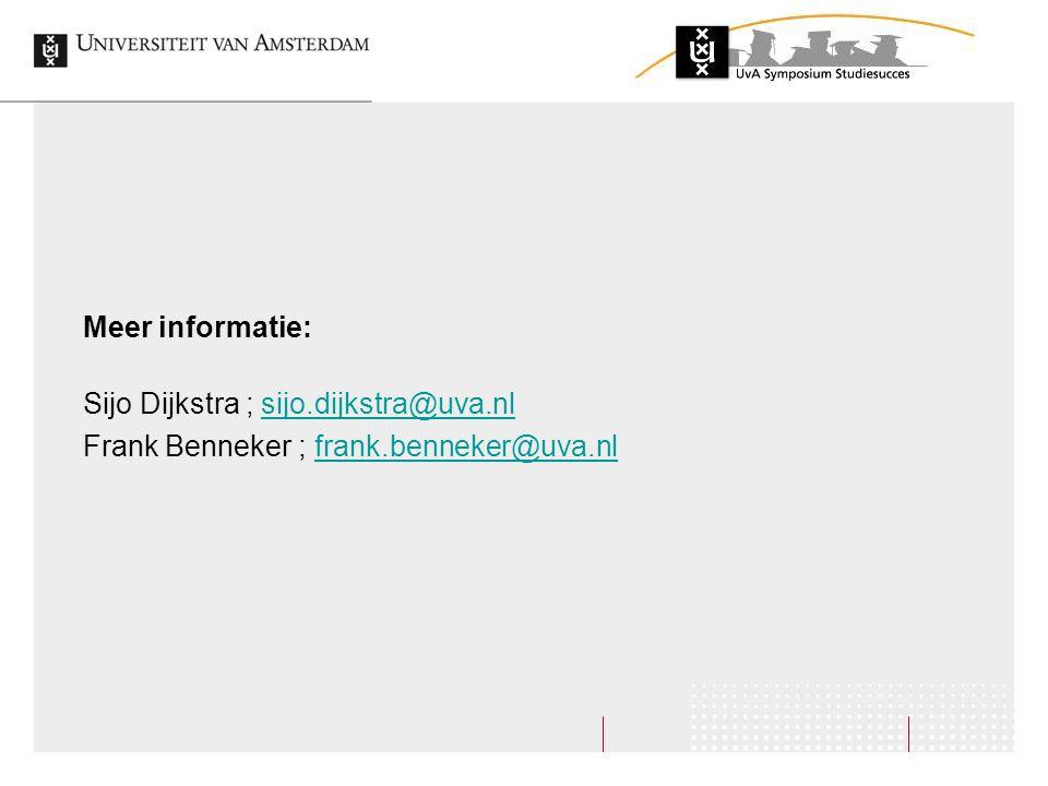 Meer informatie: Sijo Dijkstra ; sijo.dijkstra@uva.nl Frank Benneker ; frank.benneker@uva.nl