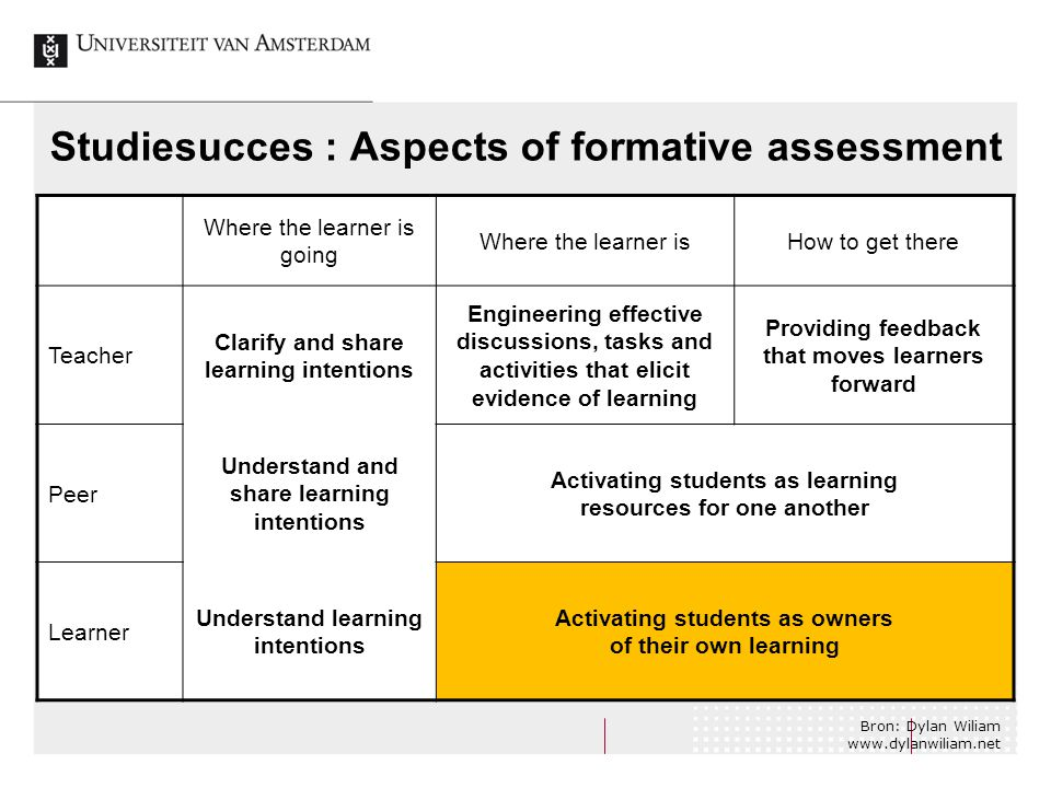 Studiesucces : Aspects of formative assessment