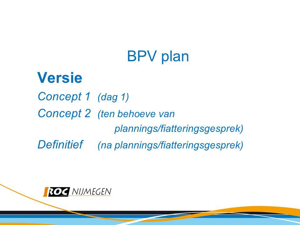 BPV plan Versie Concept 1 (dag 1) Concept 2 (ten behoeve van