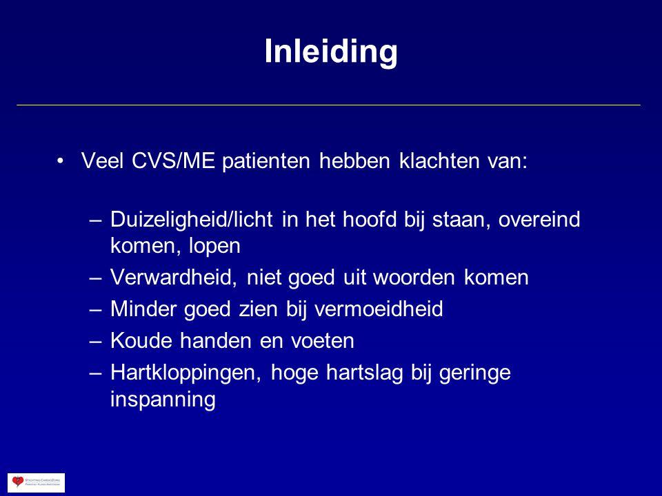 Inleiding Veel CVS/ME patienten hebben klachten van:
