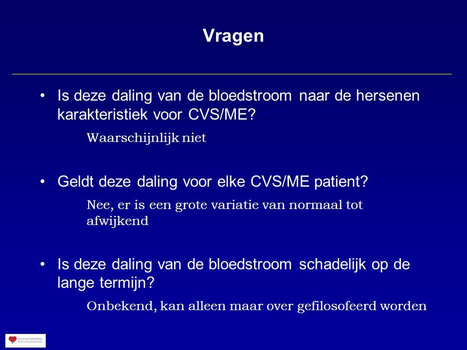 Vragen Is deze daling van de bloedstroom naar de hersenen karakteristiek voor CVS/ME Waarschijnlijk niet.