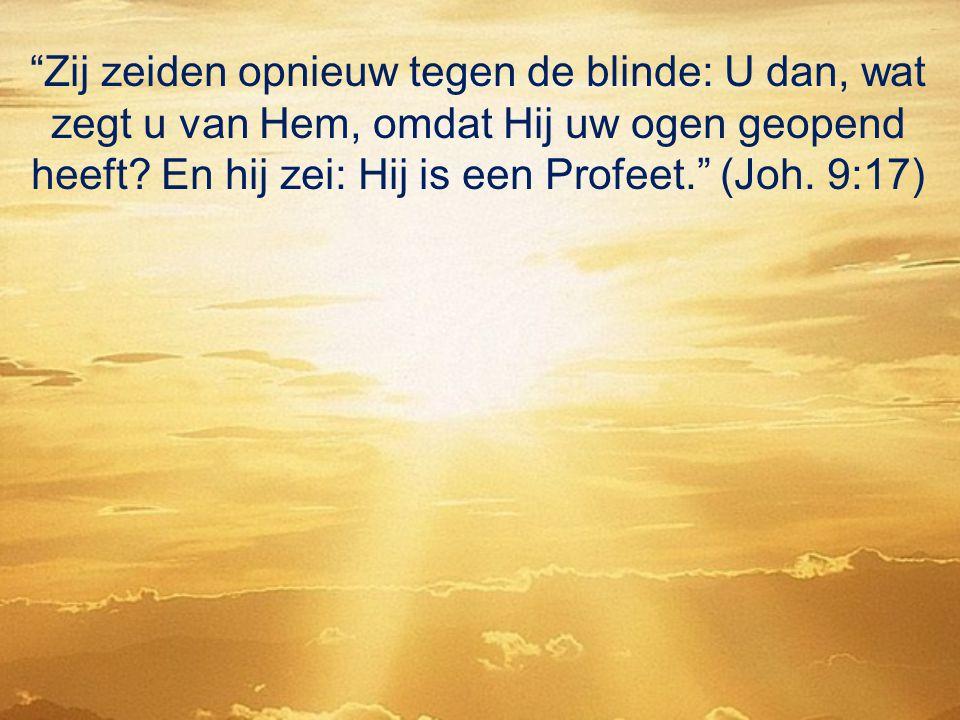 Zij zeiden opnieuw tegen de blinde: U dan, wat zegt u van Hem, omdat Hij uw ogen geopend heeft.