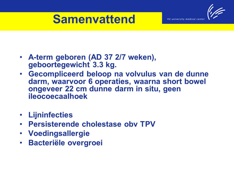 Samenvattend A-term geboren (AD 37 2/7 weken), geboortegewicht 3.3 kg.