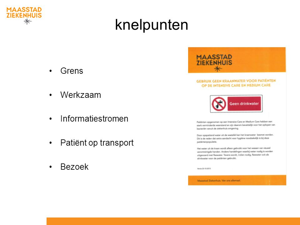 knelpunten Grens Werkzaam Informatiestromen Patiënt op transport