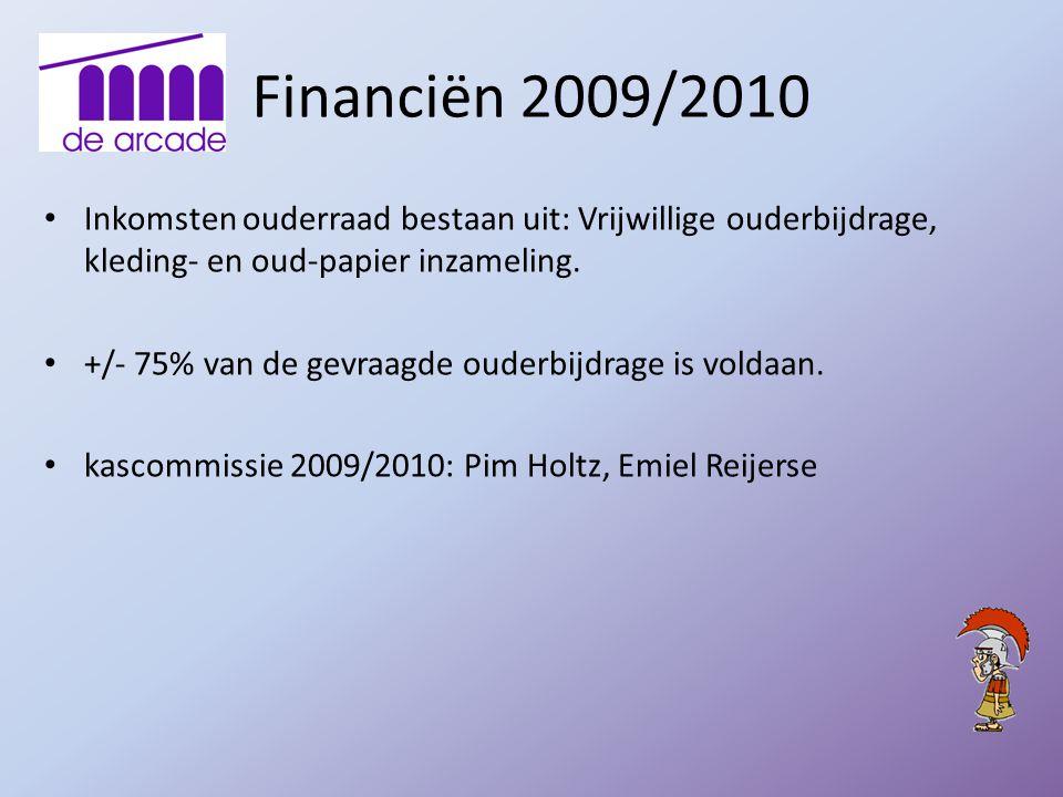 Financiën 2009/2010 Inkomsten ouderraad bestaan uit: Vrijwillige ouderbijdrage, kleding- en oud-papier inzameling.