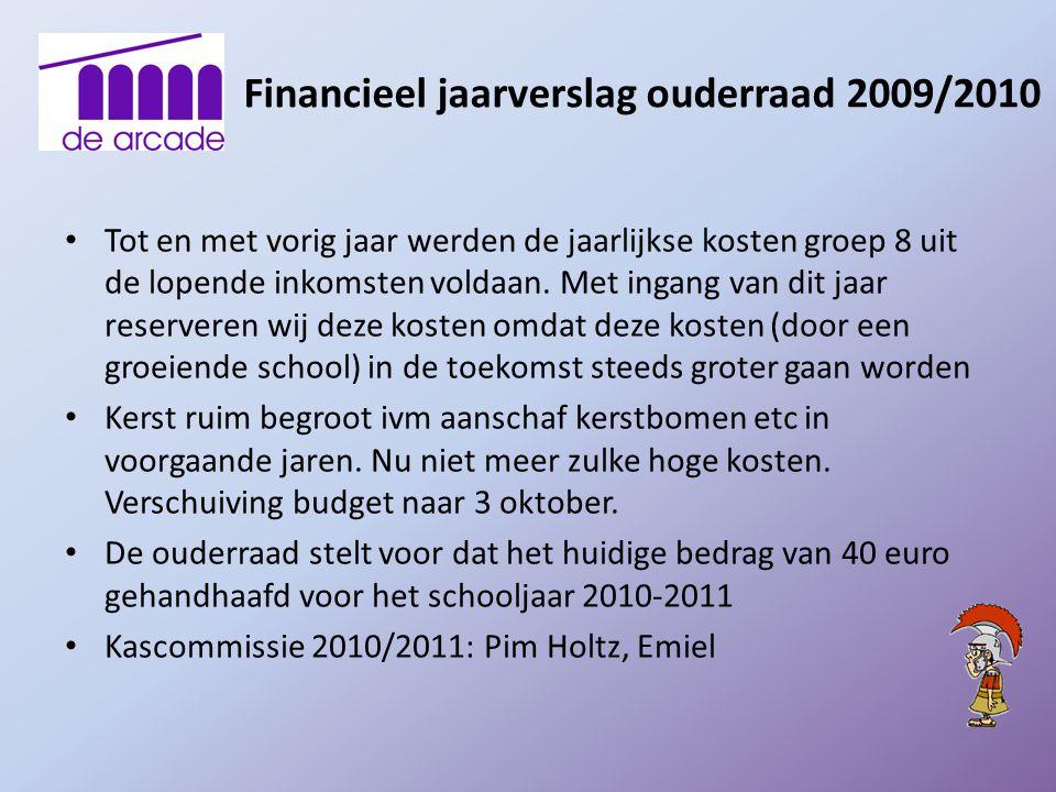 Financieel jaarverslag ouderraad 2009/2010