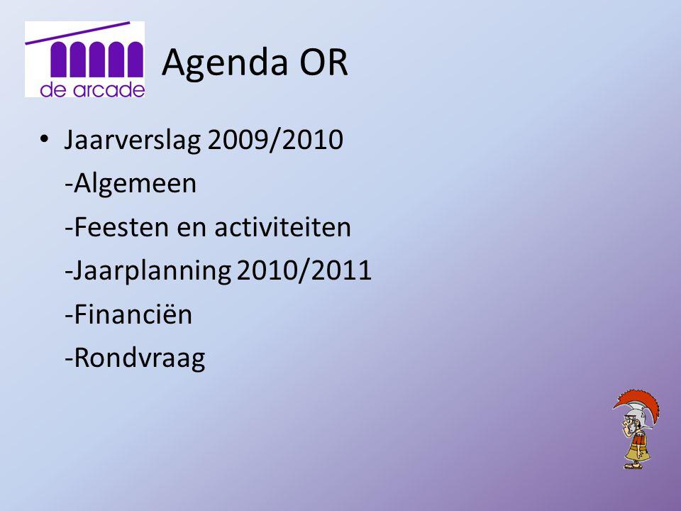 Agenda OR Jaarverslag 2009/2010 -Algemeen -Feesten en activiteiten