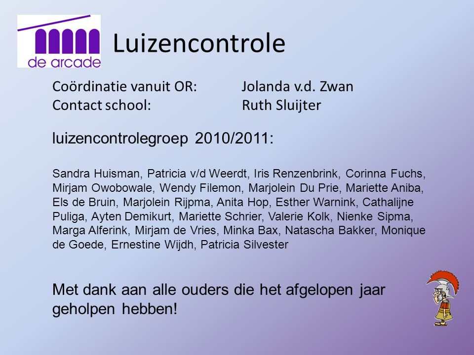 Luizencontrole Coördinatie vanuit OR: Jolanda v.d. Zwan
