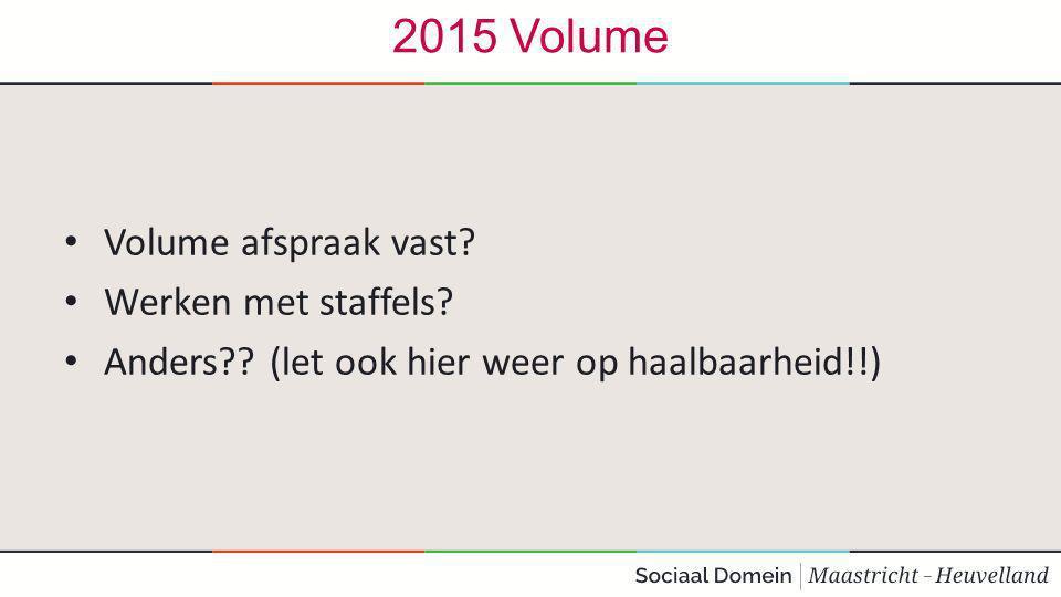 2015 Volume Volume afspraak vast Werken met staffels