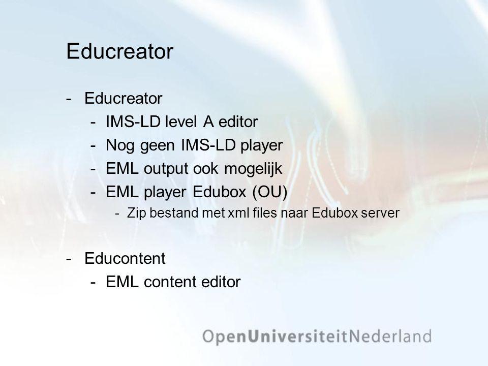 Educreator Educreator IMS-LD level A editor Nog geen IMS-LD player