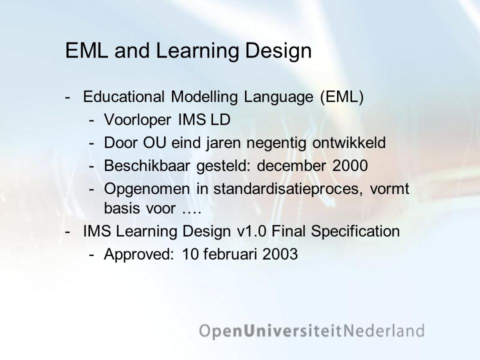 EML and Learning Design