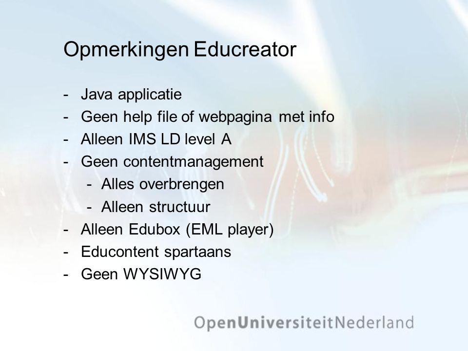 Opmerkingen Educreator