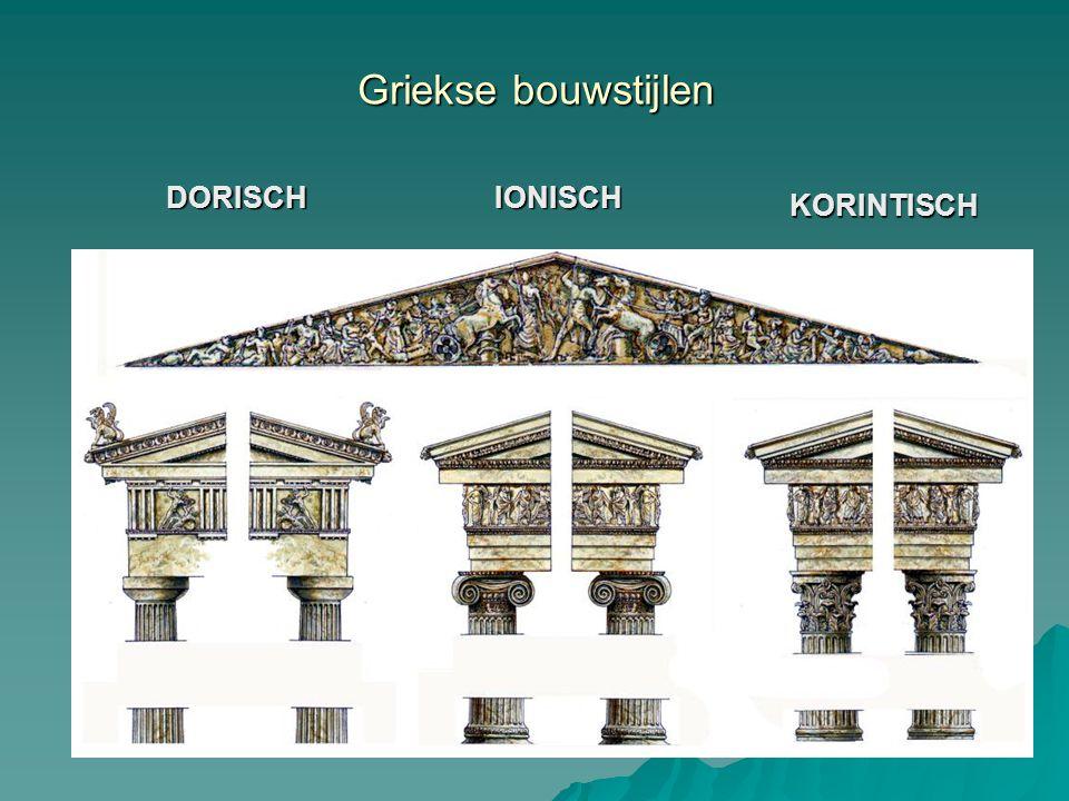 Griekse bouwstijlen DORISCH IONISCH KORINTISCH fries fries architraaf