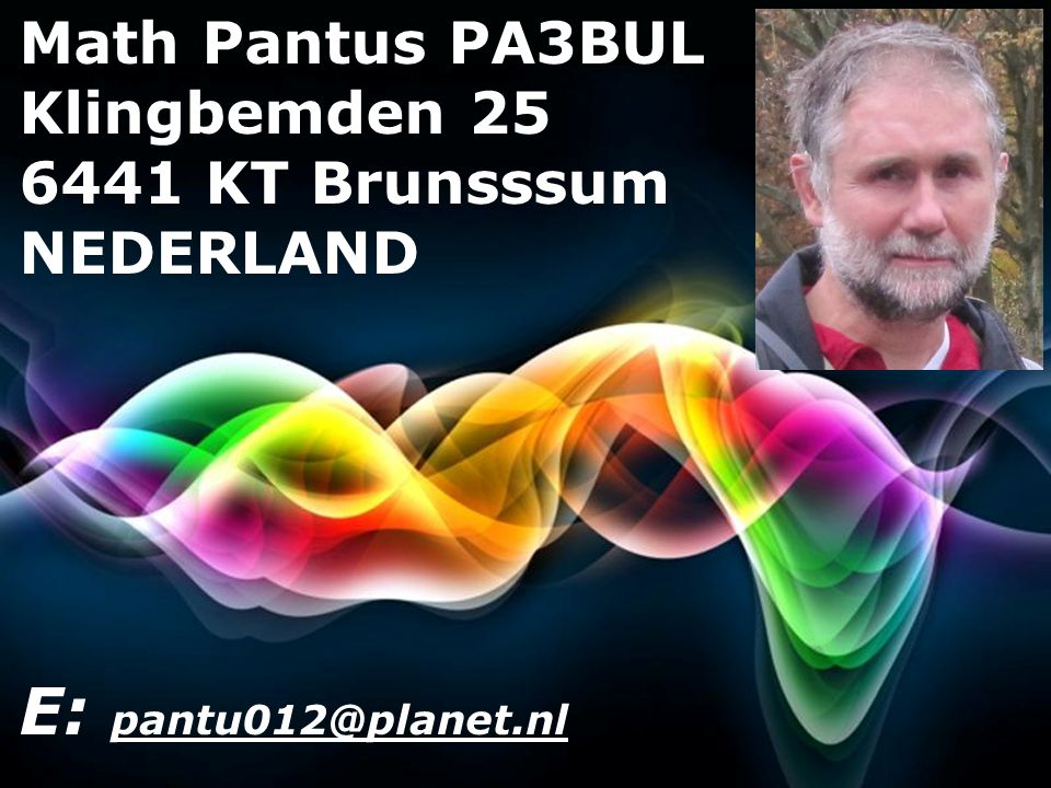E: pantu012@planet.nl Math Pantus PA3BUL Klingbemden 25