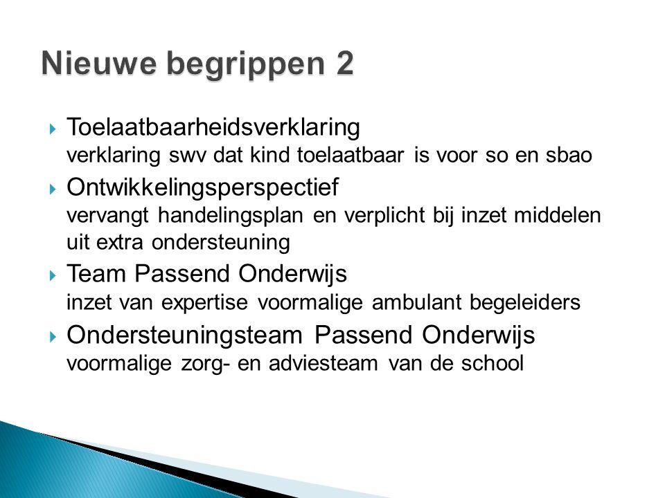 Nieuwe begrippen 2 Toelaatbaarheidsverklaring verklaring swv dat kind toelaatbaar is voor so en sbao.