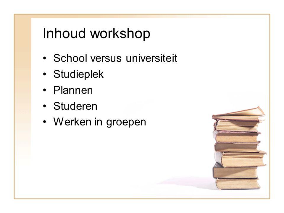 Inhoud workshop School versus universiteit Studieplek Plannen Studeren