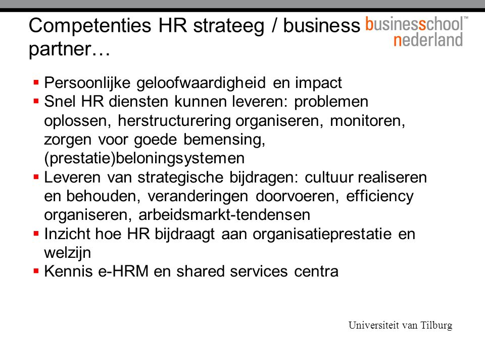 Competenties HR strateeg / business partner…