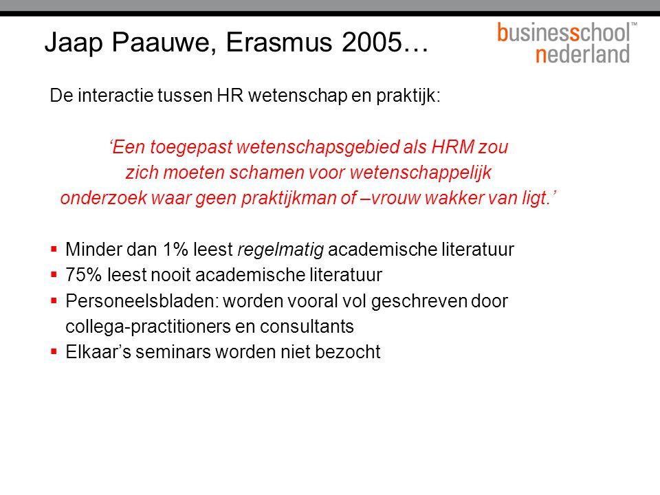 Jaap Paauwe, Erasmus 2005… De interactie tussen HR wetenschap en praktijk: 'Een toegepast wetenschapsgebied als HRM zou.