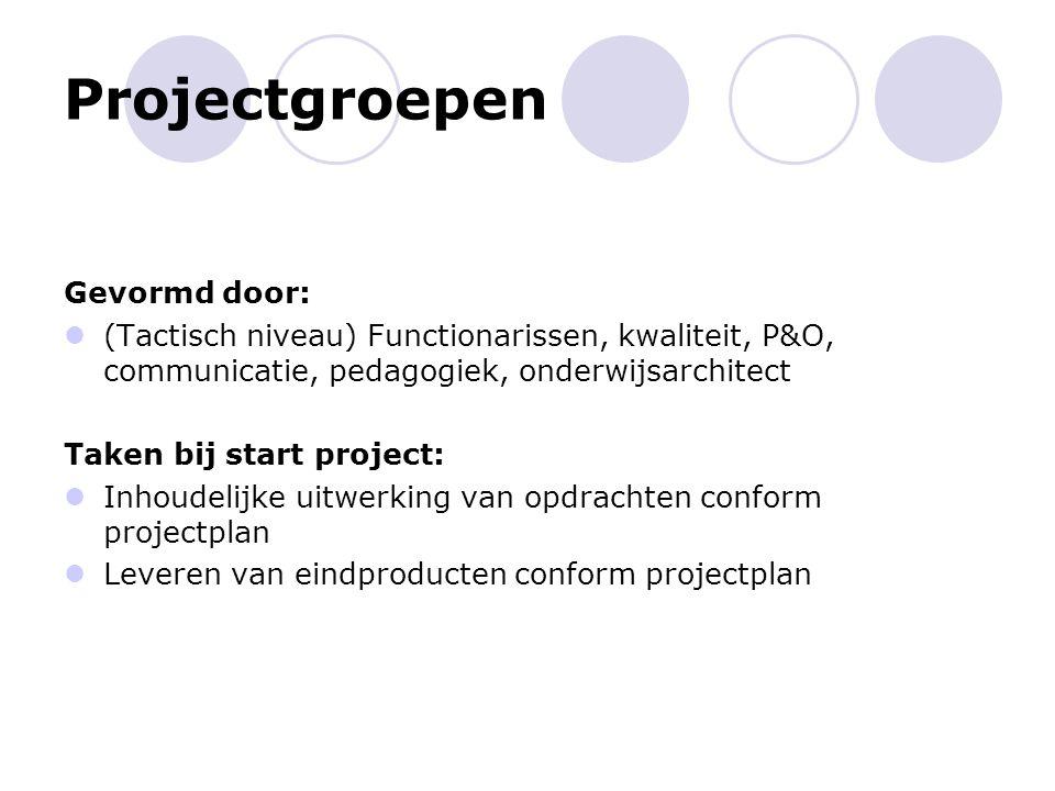 Projectgroepen Gevormd door: