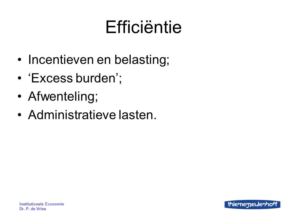 Efficiëntie Incentieven en belasting; 'Excess burden'; Afwenteling;