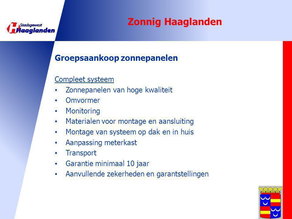 Zonnig Haaglanden Groepsaankoop zonnepanelen Compleet systeem
