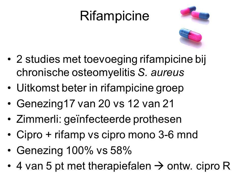 Rifampicine 2 studies met toevoeging rifampicine bij chronische osteomyelitis S. aureus. Uitkomst beter in rifampicine groep.