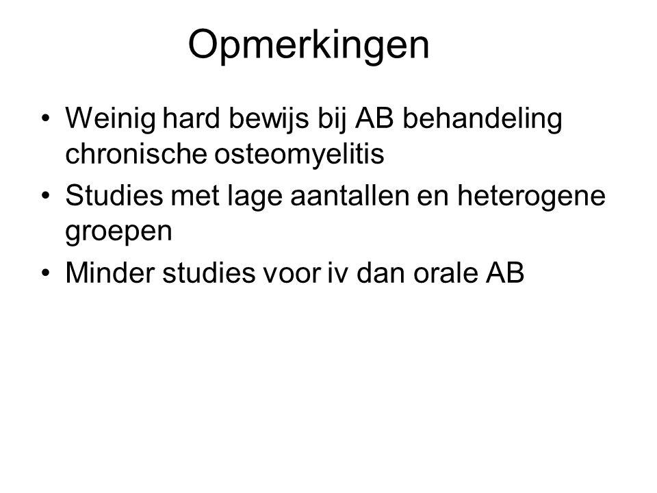 Opmerkingen Weinig hard bewijs bij AB behandeling chronische osteomyelitis. Studies met lage aantallen en heterogene groepen.