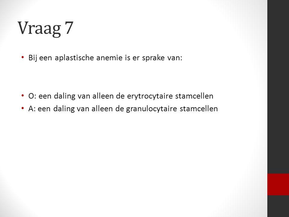 Vraag 7 Bij een aplastische anemie is er sprake van: