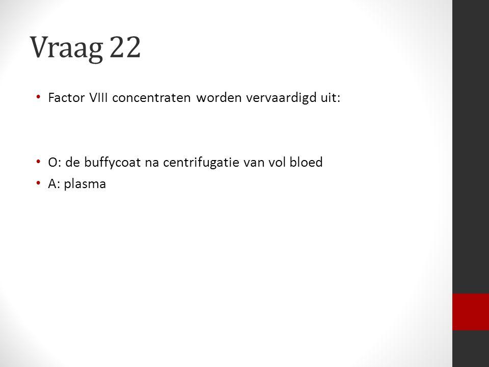 Vraag 22 Factor VIII concentraten worden vervaardigd uit: