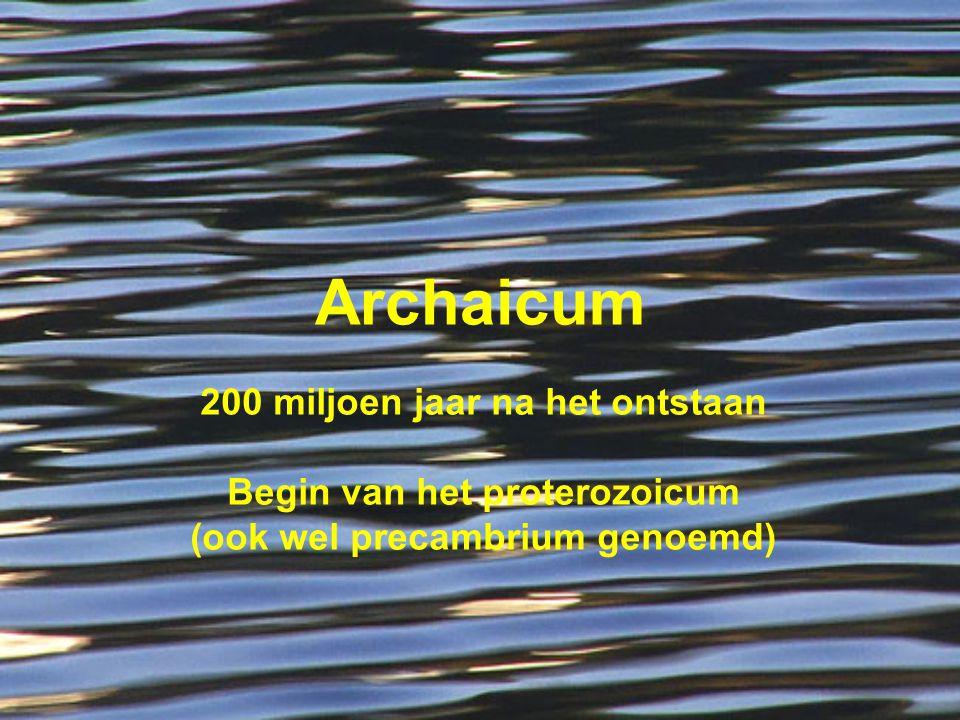 Archaicum 200 miljoen jaar na het ontstaan Begin van het proterozoicum