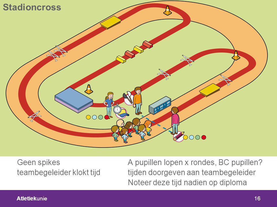 Stadioncross Geen spikes A pupillen lopen x rondes, BC pupillen