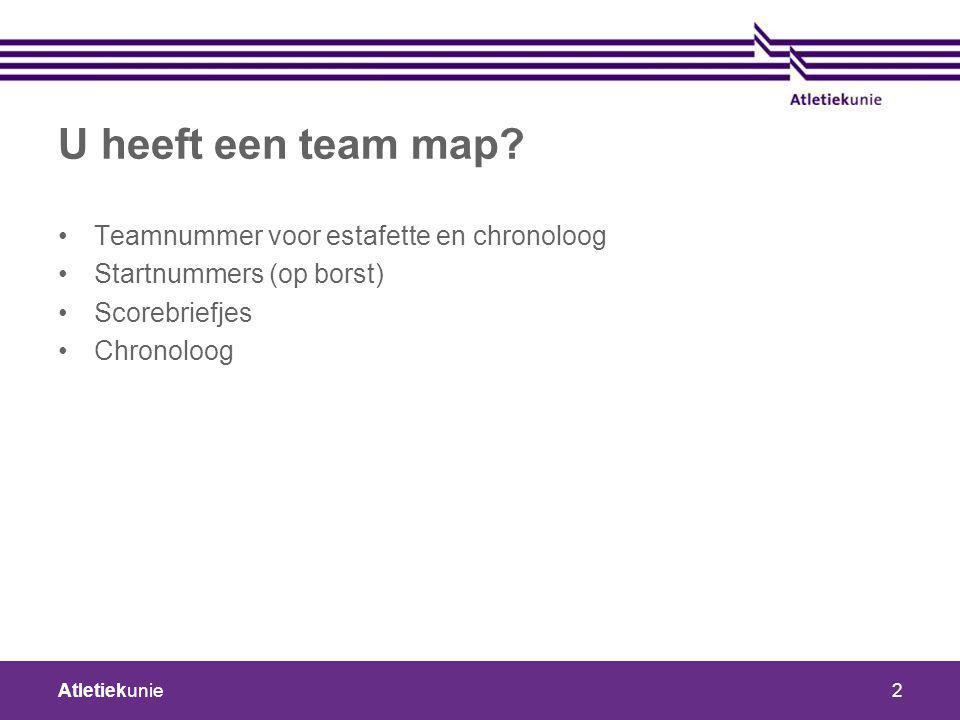 U heeft een team map Teamnummer voor estafette en chronoloog