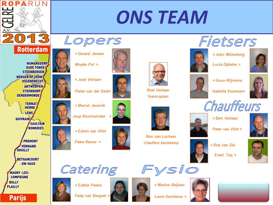 ONS TEAM Lopers Fietsers Chauffeurs Catering Fysio < Gerard Jansen