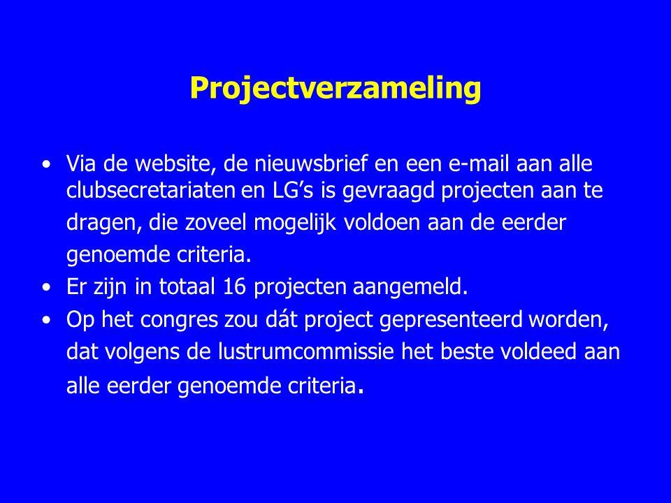 Projectverzameling Via de website, de nieuwsbrief en een e-mail aan alle clubsecretariaten en LG's is gevraagd projecten aan te.